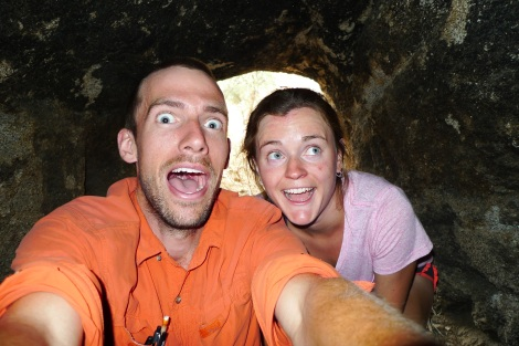 Hanging out with Lana, field tech supreme, in one of the old gold mining caves in Kern County.